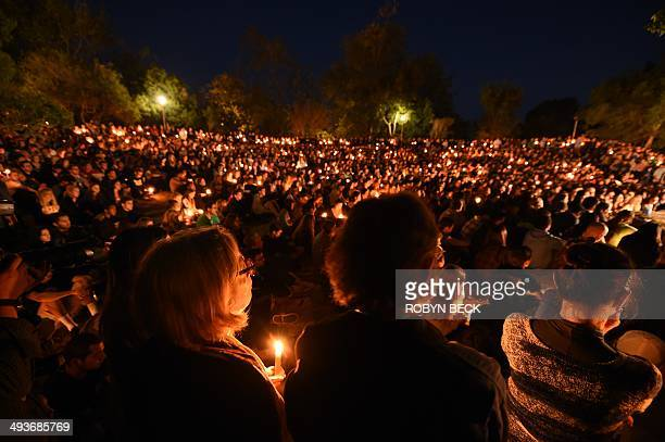 Students gathered for a candlelight vigil on the University of California Santa Barbara campus May 24 2014 to remember those killed Friday night...