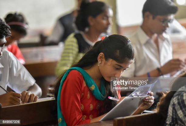 SSC students give their exam at Saraswati Mandir High School examination centre at Mahim on March 7 2017 in Mumbai India With over 38 lakh students...