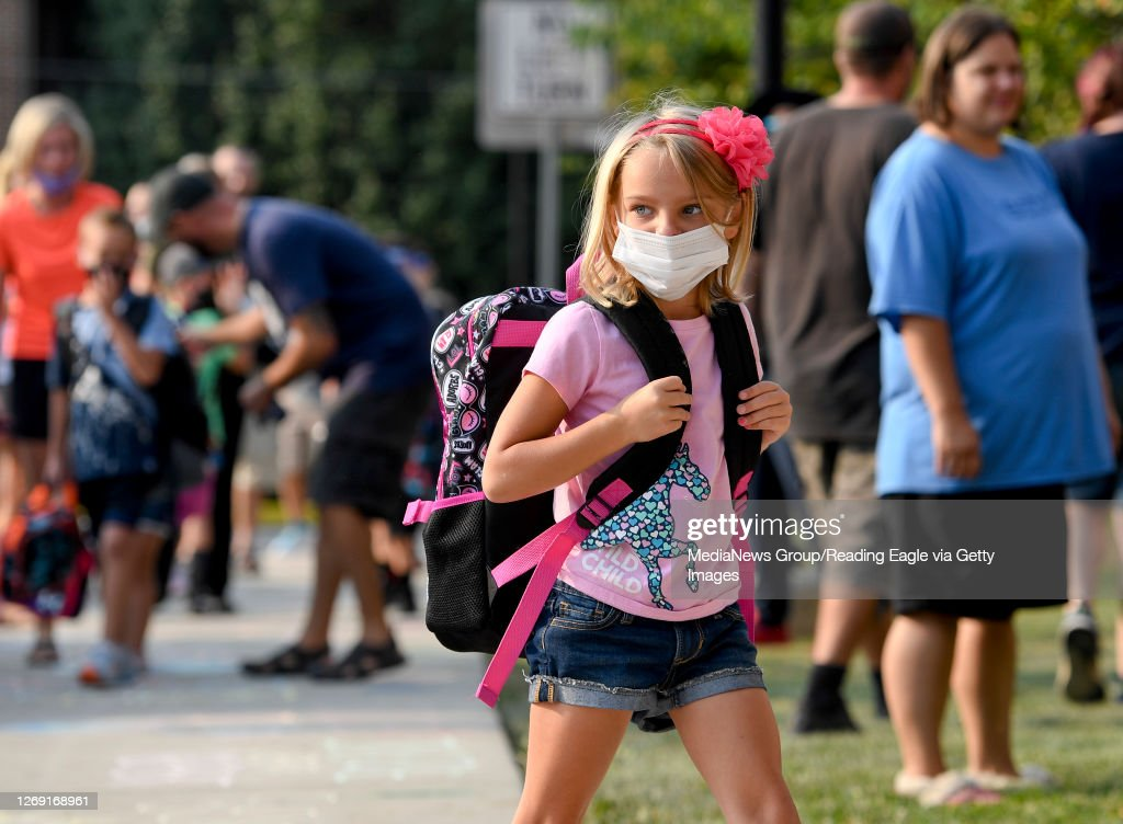 First Day of School For Pennsylvania Elementary School During COVID-19 Coronavirus Outbreak : News Photo