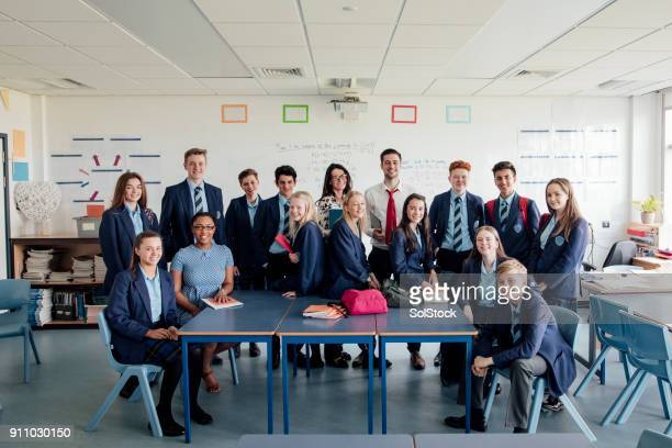 students group photo - school uniform stock pictures, royalty-free photos & images