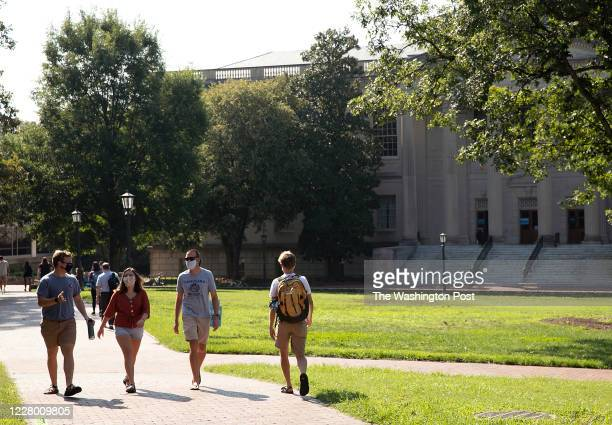 Students had their first day of classes despite the Coronavirus pandemic at the University of North Carolina in Chapel Hill NC on Monday August 10...