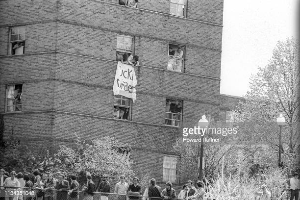 Students hang a banner out of a dorm window during a student antiwar protest Kent Ohio May 4 1970 The protests initially over the US invasion of...