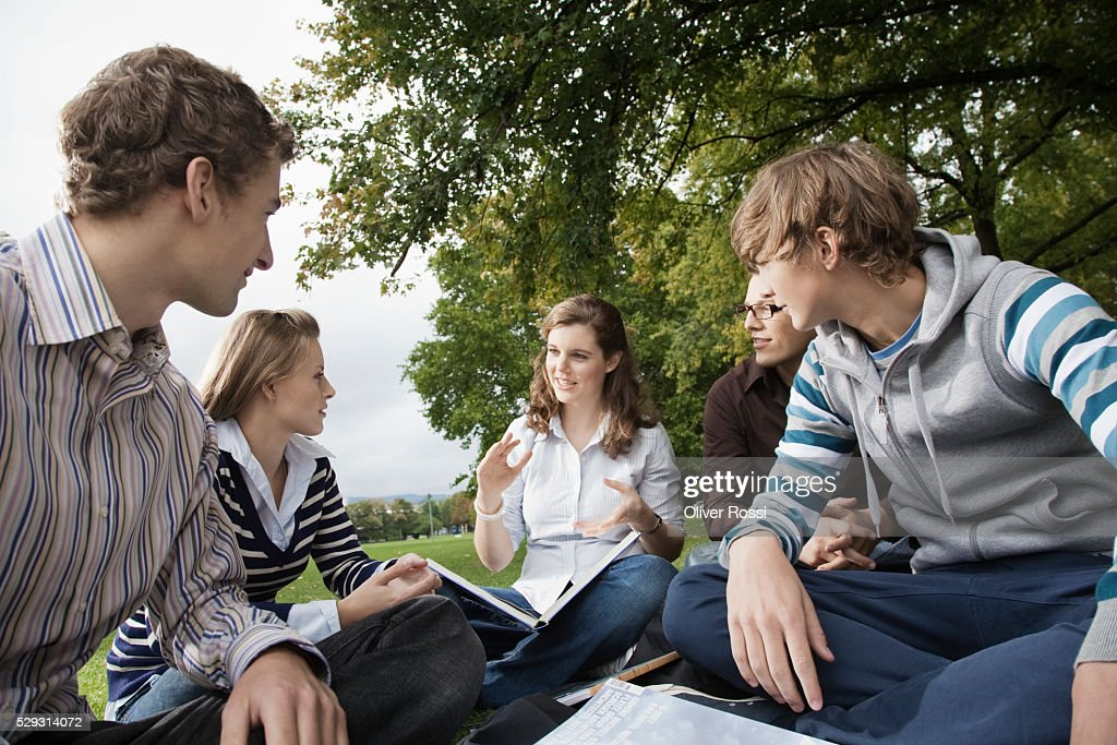 Students having study group on grass : Photo
