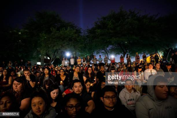 UNLV students hold a moment of silence for the victims of the mass shootings that killed 59 people and injured more than 525 in Las Vegas Nevada on...