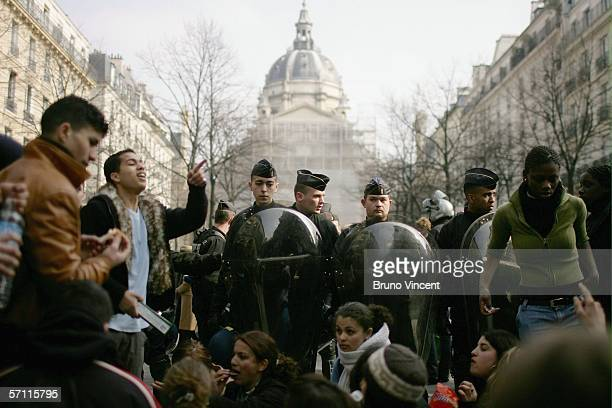 Students hold a sit in in front of the Sorbonne University on March 17 2006 in Paris France Students have held a series of demonstrations over the...