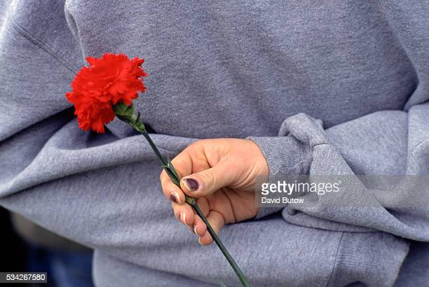 A students holds a single carnation while at a memorial for the victims of the Columbine shooting In May of 1999 students Eric Harris and Dylan...