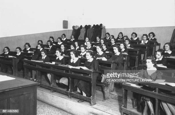 Students in a female class December 2 Genoa Italy 20th century