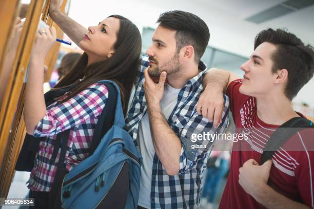 students in a hallway. - information sign stock pictures, royalty-free photos & images