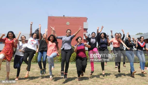 Students in a joyfully mood after the declaration of CBSE class 12 result on May 26 2018 in Chandigarh India A total of 11306 candidates registered...