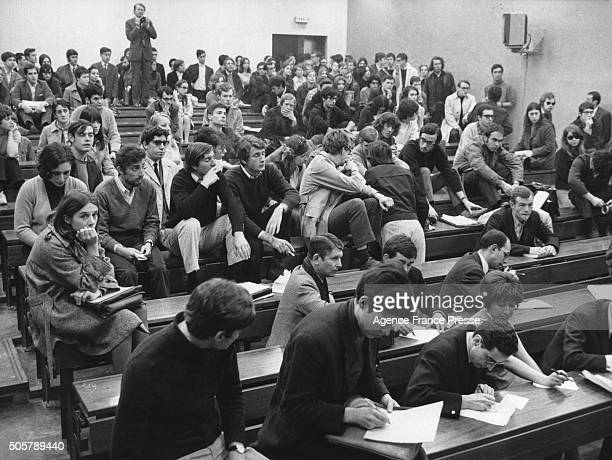 Students in a lecture hall at Nanterre University France late 1960s