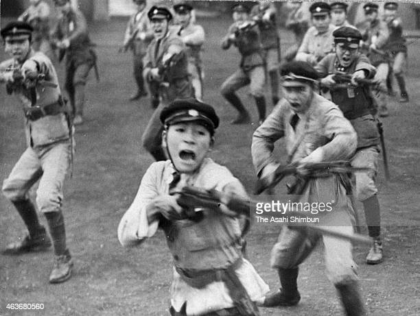 Students in bayonet training at a school in February 1944 in Tokyo Japan