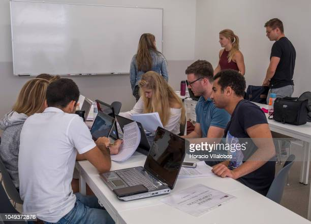 Students in class at NOVA School of Business and Economics new campus on October 04 2018 in Carcavelos Portugal Nova SBE is a leading school in the...