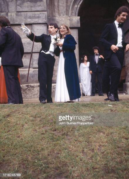 Students in formal wear enjoying the May Ball at Worcester College, Oxford, circa May 1978.