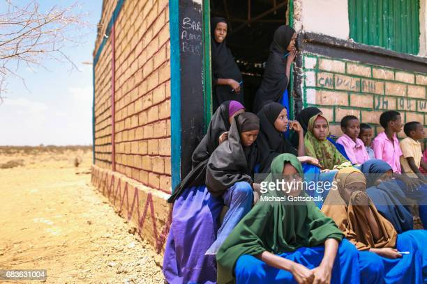 Students in front of a primary school in a village in the Somali region of Ethiopia where Pastorale settled because of the persistent drought on...