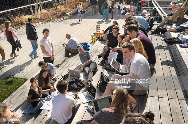 students in group lesson at the highline park in nyc - hot teen stock pictures, royalty-free photos & images