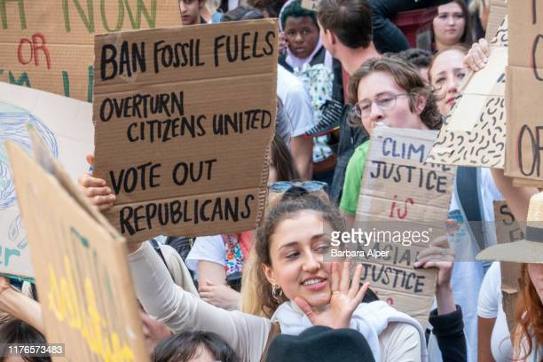 Students in New York demonstrating on the 20th September Climate Strike part of a worldwide day of climate strikes on 20th September 2019 The event...