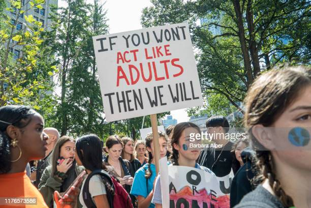 Students in New York demonstrating on the 20th September Climate Strike, part of a worldwide day of climate strikes on 20th September 2019. The event...