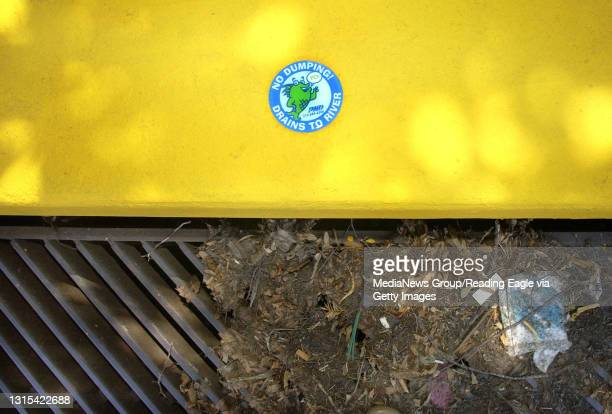 """Students in Professor Drew Lapinski's environmental science class, placed """"No Dumping! Drains to River"""" plaques on the storm drains near the RACC..."""