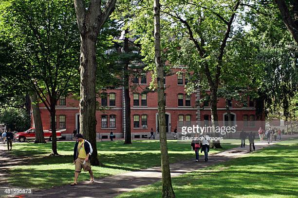 Students in the Harvard Yard Cambridge Boston.