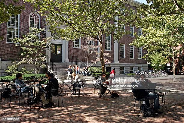 Students in the Harvard Yard Cambridge Boston
