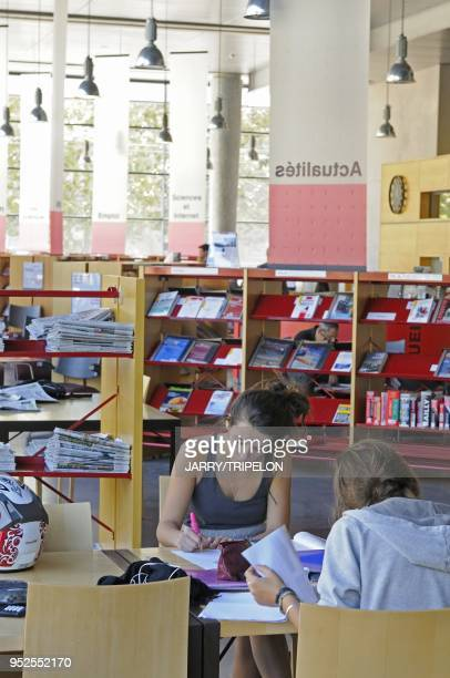 Students in the hybrid library Emile Zola Antigone district Montpellier Herault department Languedoc Roussillon region France