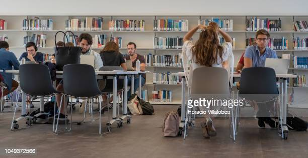 Students in the library at NOVA School of Business and Economics new campus on October 04 2018 in Carcavelos Portugal Nova SBE is a leading school in...