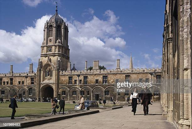 Students in the Tom quadrangle of Christ Church college University of Oxford July 1970