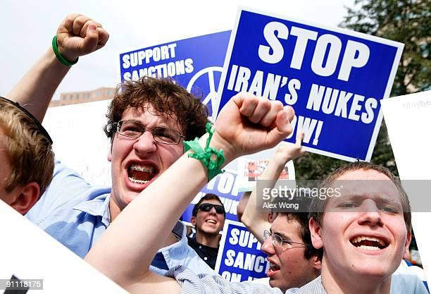 Students Joey Sacharow and Etan Dinnerman of Yeshivat Rambam a Jewish school in Baltimore shout slogans during an antinukes rally September 24 2009...