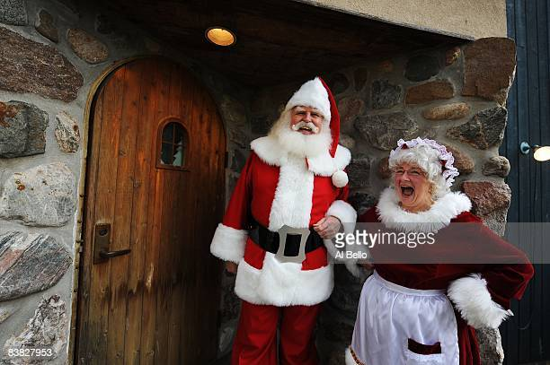 Students John Siebler of Fort White, Florida and Mary Ellen Stroh, of Midland Michigan are dressed up as Santa Claus and Mrs Claus and share a laugh...