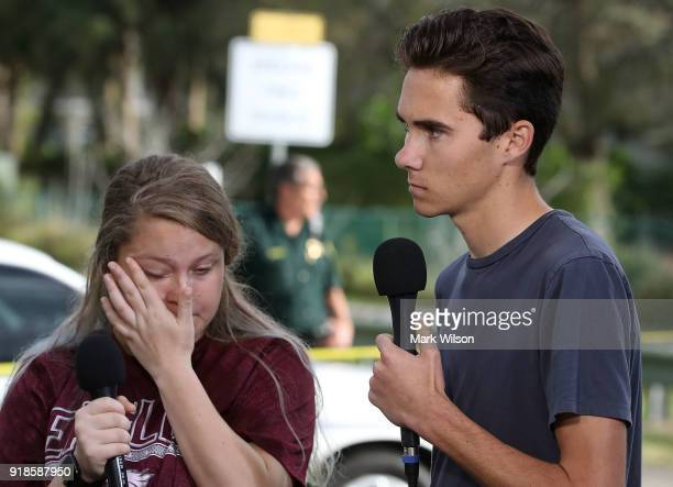Students Kelsey Friend and David Hogg recount their stories about yesterday's mass shooting at the Marjory Stoneman Douglas High School where 17...