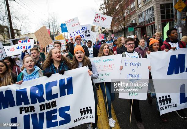 Students lead the march down Pine Street during the March for Our Lives rally on March 24 2018 in Seattle Washington More than 800 March for Our...