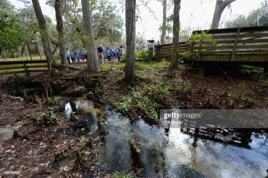 Students learn about water and the environment during the unveiling of WaterVentures, Florida's Learning Lab at Crystal Springs Preserve in partnership with Zephyrhills Brand 100% Natural Spring Water on January 9, 2013 in Crystal Springs, Florida. (Photo by Tim Boyles/Getty Images for Zephyrhills