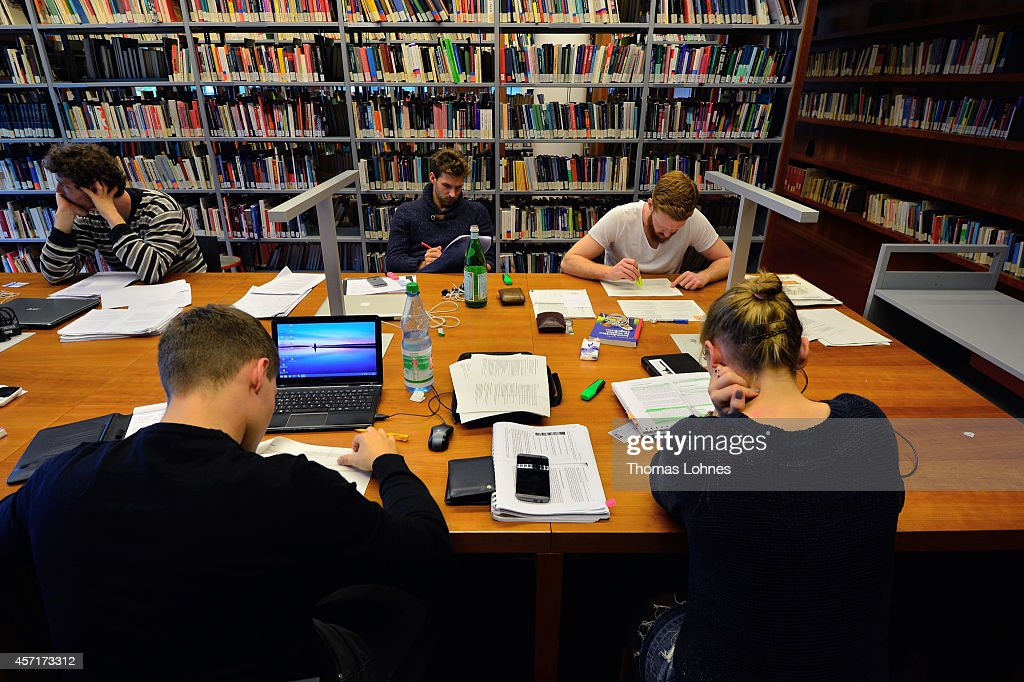 Students learn in the library of the Johann Wolfang Goethe-University on October 13, 2014 in Frankfurt am Main, Germany. The Johann Wolfgang Goethe-University celebrates its 100th anniversary with a ceremony on 18 October.