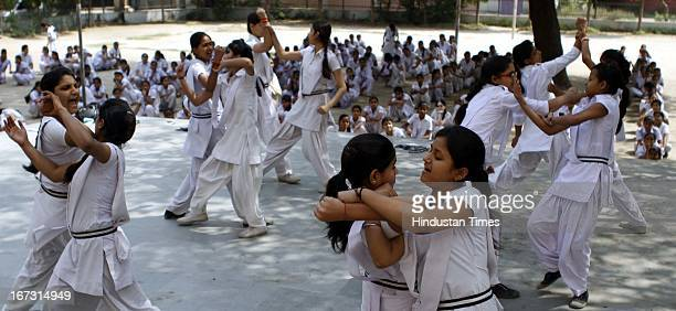 Students learning martial arts for the self defence at Govt Girls Sr Sec School in Roop Nagar near North Delhi University on April 24 2013 in New...