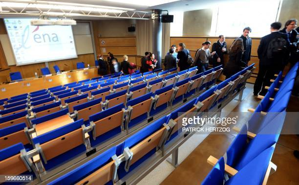 SIMON Students leave a conference room of the Ecole Nationale d'Administration on January 14 2013 in Strasbourg eastern France The National School of...