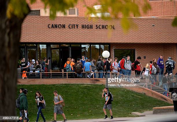 Students leave campus at the end of the day at Canon City High School which is at the center of a recent sexting scandal that officials believe...