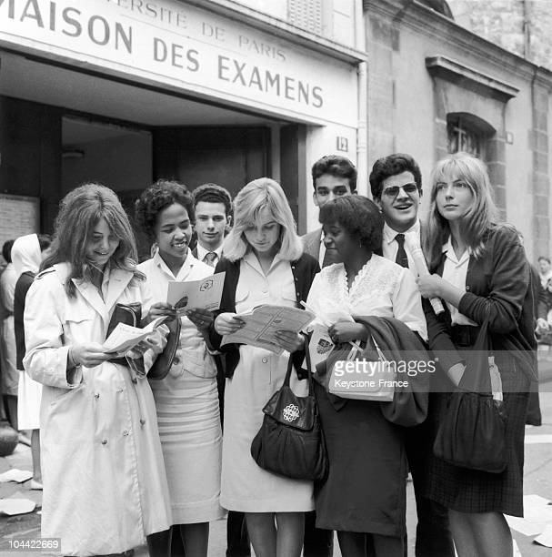 Students Leaving The Maison Des Examens In Paris Are Exchanging Impressions After Their First Baccalaureat Examination Paper