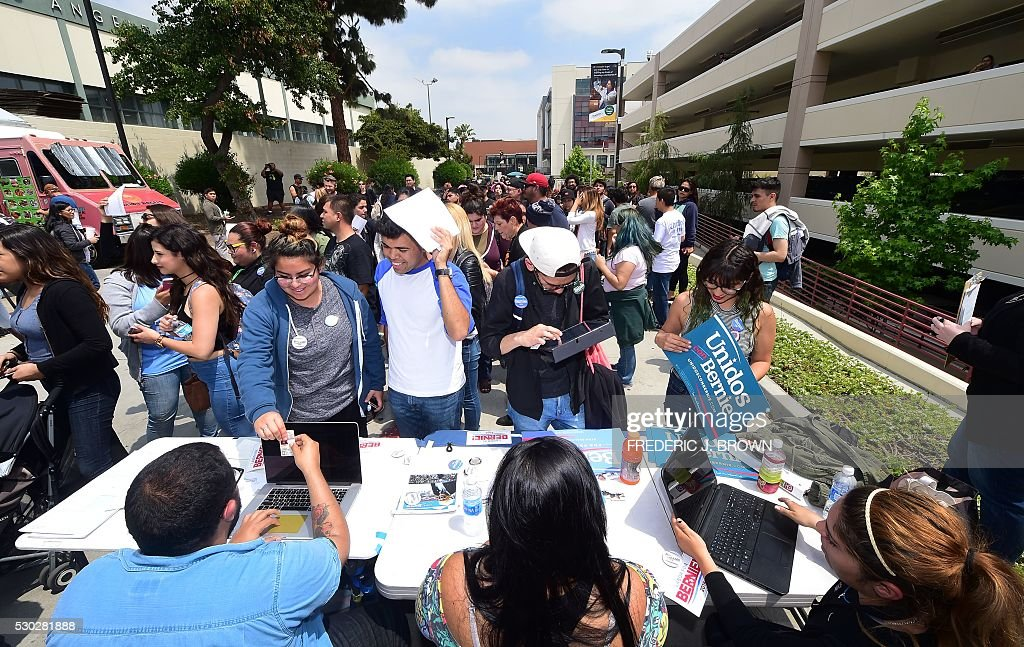 Students line up for voter registration forms or a chance to meet students line up for voter registration forms or a chance to meet with celebrities visiting east los angeles college for the rock the campus for bernie m4hsunfo