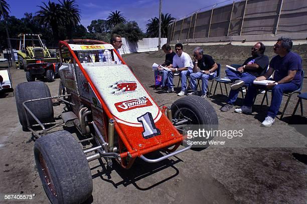 Students listen to Cory Kruseman at the Ventura Raceway, Sunday during Kruseman's sprint car driving school. Kruseman, a top driver of sprint cars,...