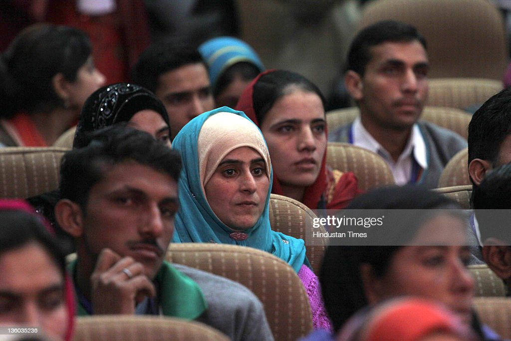 Students listening to the speech of Jammu & Kashmir chief minister, Omar Abdullah during a function held for distribution of appointment letters under Himayat project, launched to provide skill development training to the unemployed youth of Jammu & Kashmir on December 17, 2011 in Srinagar, India. Union Rural Development Minister, Jairam Ramesh and C. Rangarajan, chairman, Economic Advisory Council to Prime Minister were also present during the event.