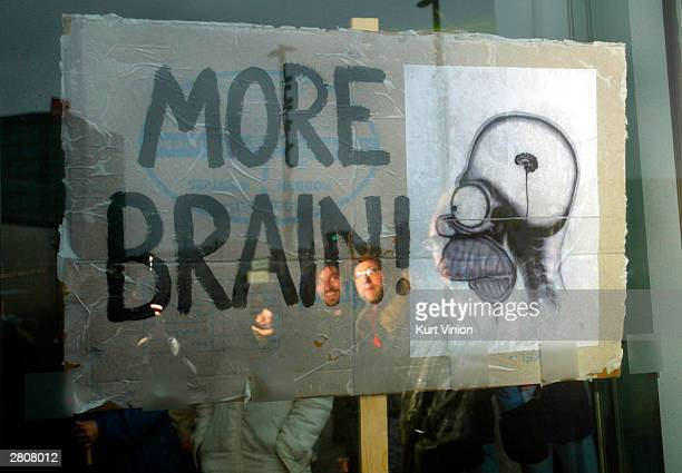 Students look at a sign of Homer Simpson stating More Brain during a protest against education cuts planned for Germany's universities December 13...
