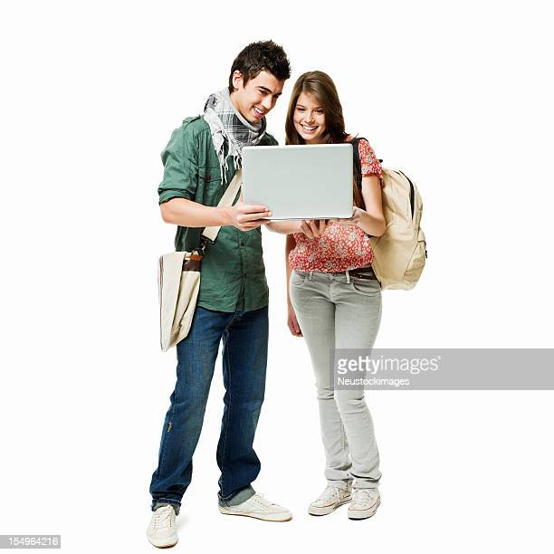 Students Looking at a Laptop - Isolated