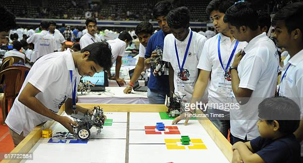 Students making robots during World Robot Olympiad which is being held for the first time in Kolkata on October 23 2016 in Kolkata India