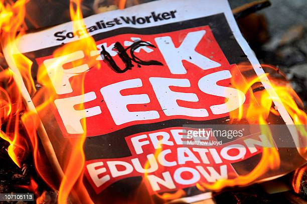 Students march around Westminster during a demonstration over tuition fees and university funding on November 24 2010 in London United Kingdom This...