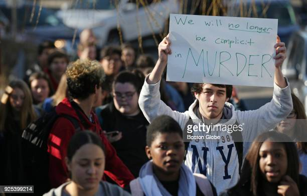 Students march on Cedar Street during a student walkout at Somerville High School in Somerville MA on Feb 28 2018 Some 200 Somerville High School...
