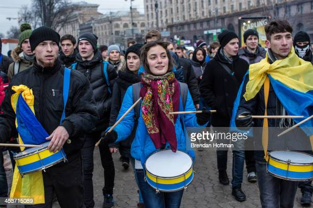 Students march to Independence Square claiming a strike in support of antigovernment protesters and in favor of tighter European integration on...