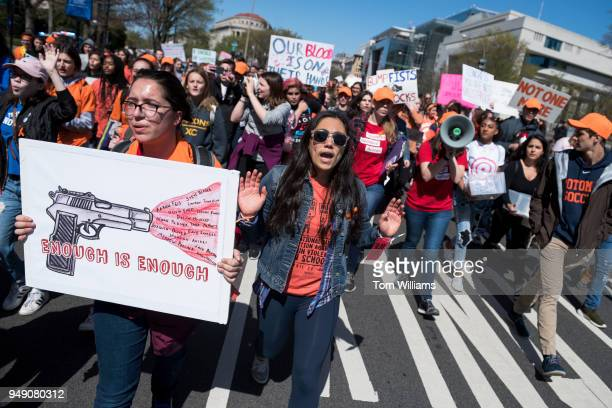 Students march to the Capitol on Pennsylvania Avenue to call on Congress to act on gun violence prevention during a national walkout on April 20...