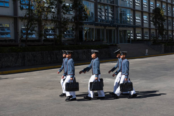 Students marching at The Philippine Military Academy, Baguio City, Philippines.