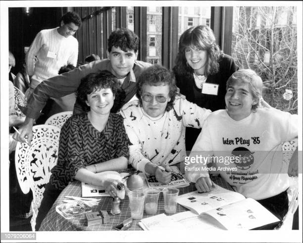 Students meet at the Seymore Centre during the 1st International Festival of Young PlaywrightsPix Show 1 Left to Right Donna Abela 20 from Sydney Rob...