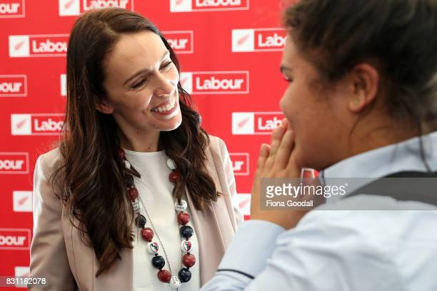 Students meet Labour Leader Jacinda Ardern at at Kelston Girls' College on August 14 2017 in Auckland New Zealand Jacinda Ardern announced new...